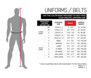 Karate Uniform Gi Sizing Chart