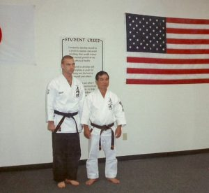 Mark Roscoe with Sensei Kanmei Uechi