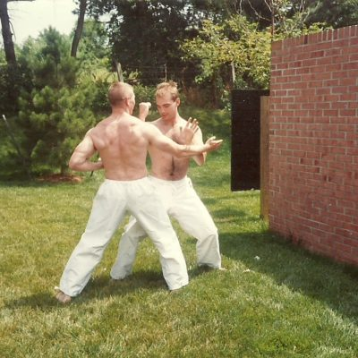 Sensei Mark Roscoe and Best Friend and Fellow Black Belt Glenn Dickenson demonstrating elbow strike