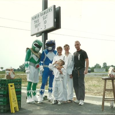 Sensei Mark Roscoe hanging out with the Power Rangers during Karate Demonstration for Dojo in Fredericksburg VA 1993