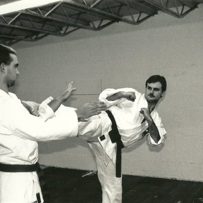 Sensei Mark Roscoe defending against side kick from Mike Branca (friend and fellow black belt) 1992