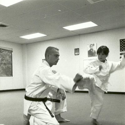 Sensei Mark Roscoe teaching children at the Alexandria Dojo in January 1993
