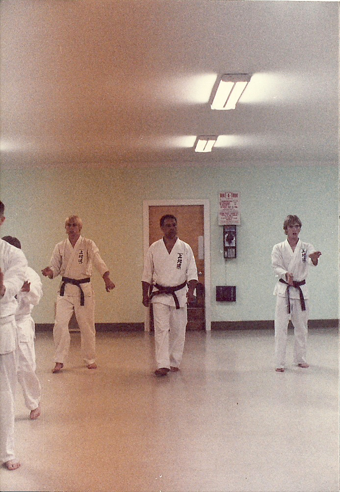 Mark trains with Sensei Jim Thompson from Kalamazoo, MI in 1983 at a training class in Fredericksburg, VA