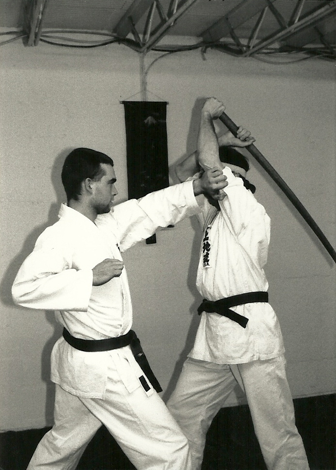 Sensei Mark Roscoe on defense of sword attack Alexandria VA Dojo 1992