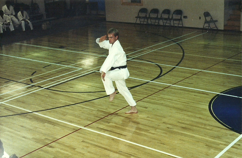 A young Sensei Mark Roscoe performing kata for a martial arts competition in Washington, D.C. 1992