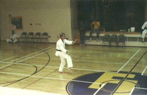 A young Sensei Mark Roscoe performing kata for a martial arts competition in Washington, D.C. 1985