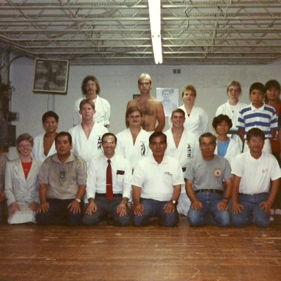 Sensei Mark Roscoe (back row no shirt) at Alexandria VA Dojo  during Okinawan Instructor Visit 1991